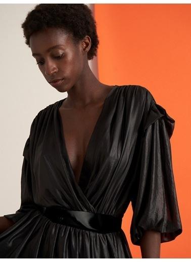 Nocturne Kruvaze Metalik Mini Elbise Siyah